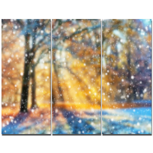 Designart Blur Winter With Snow Flakes LandscapeCanvas Art Print 3 Panels
