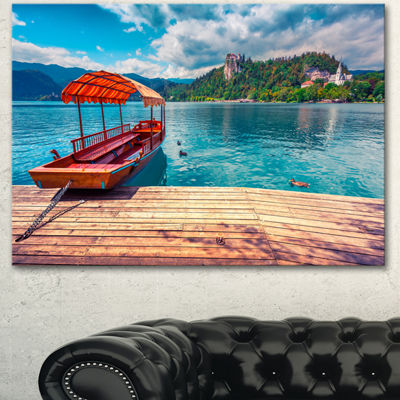 Designart Boat In Lake Bled In Julian Alps LargeLandscape Canvas Art Print