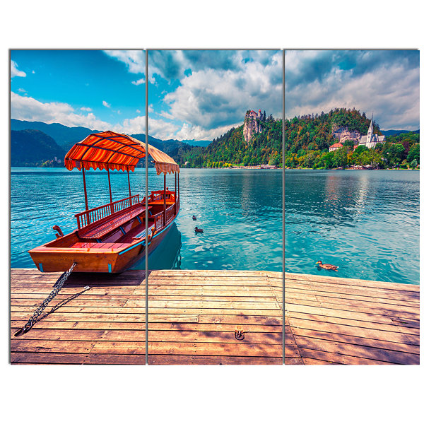 Designart Boat In Lake Bled In Julian Alps LargeLandscape Canvas Art Print 3 Panels
