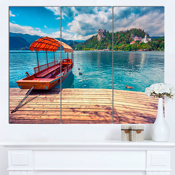 Design Art Boat In Lake Bled In Julian Alps LargeLandscape Canvas Art Print 3 Panels