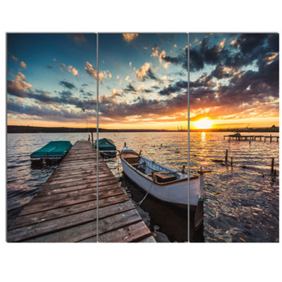 Designart Boats And Jetty Under Dramatic Sky Modern Canvas Art Print 3 Panels