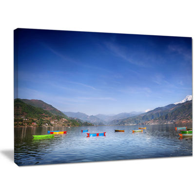 Designart Boats In Pokhara Lake Modern Seashore Canvas Wall Art