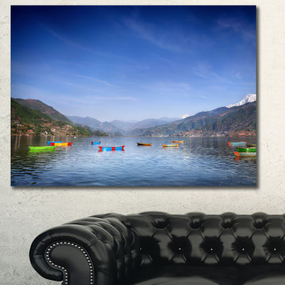 Designart Boats In Pokhara Lake Oversized SeashoreCanvas Art Print