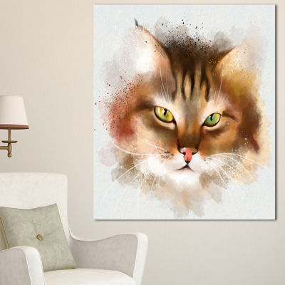 Designart Bold Brown Cat Watercolor Sketch LargeAnimal Canvas Artwork