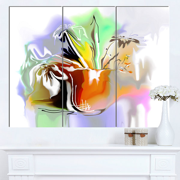 Design Art Bouquet Of Abstract Flowers Extra LargeFloral Wall Art 3 Panels
