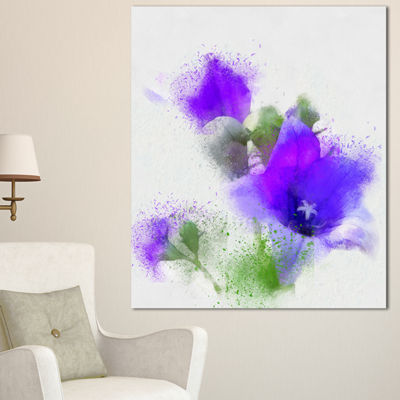 Designart Bouquet Of Blue Watercolor Flowers Floral Canvas Art Print