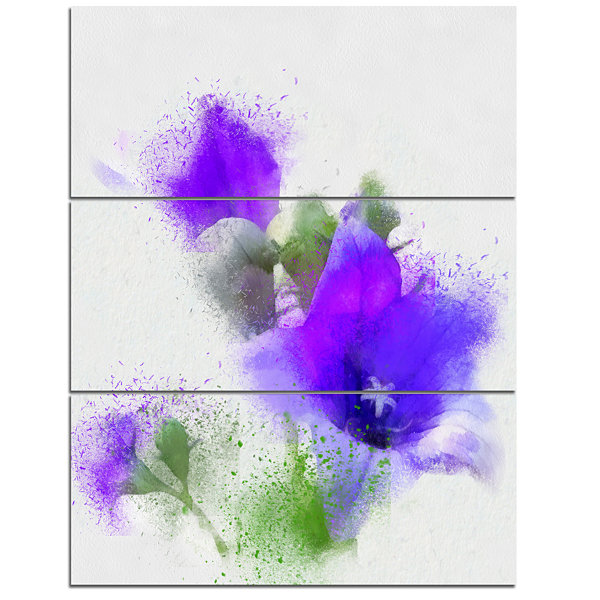 Designart Bouquet Of Blue Watercolor Flowers Floral Canvas Art Print 3 Panels