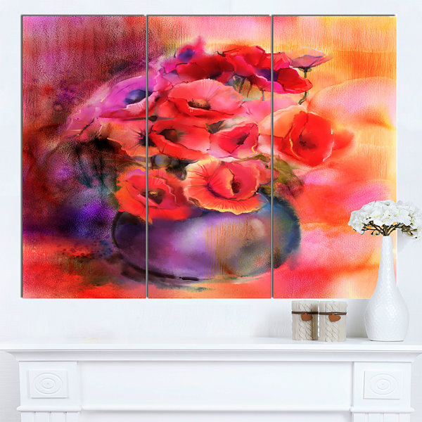 Designart Bouquet Of Cute Poppies In Vase Large Floral Canvas Art Print 3 Panels