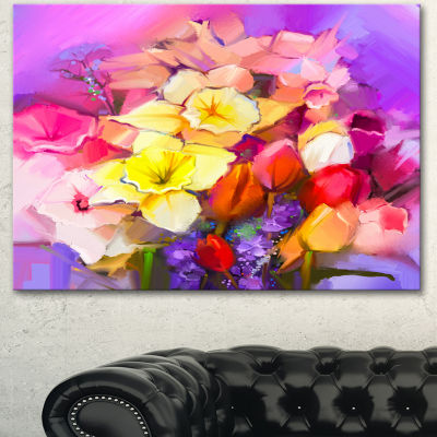 Design Art Bouquet Of Daffodil And Tulip Flowers Large Floral Canvas Art Print 3 Panels