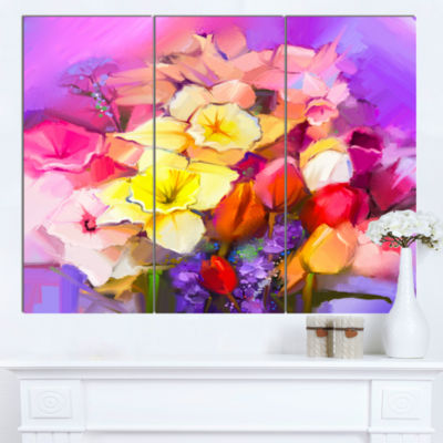 Designart Bouquet Of Daffodil And Tulip Flowers Large Floral Canvas Art Print  3 Panels