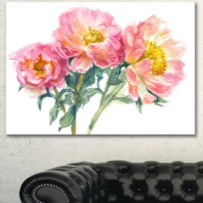 Designart Bouquet Of Pink Peony Watercolor FlowerArtwork On Canvas 3 Panels