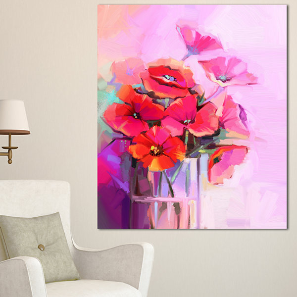 Designart Bouquet Of Poppies In Glass Vase LargeFloral Canvas Art Print 3 Panels