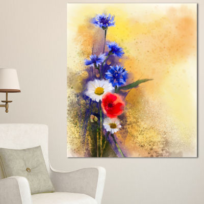 Design Art Bouquet Of Poppy Cornflower And Daisy Large Floral Canvas Artwork
