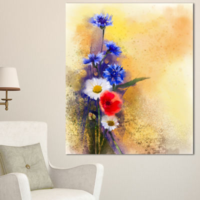 Designart Bouquet Of Poppy Cornflower And Daisy Large Floral Canvas Artwork 3 Panels