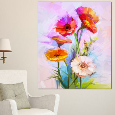 Designart Bouquet Of Red White Flowers Large Floral Canvas Art Print