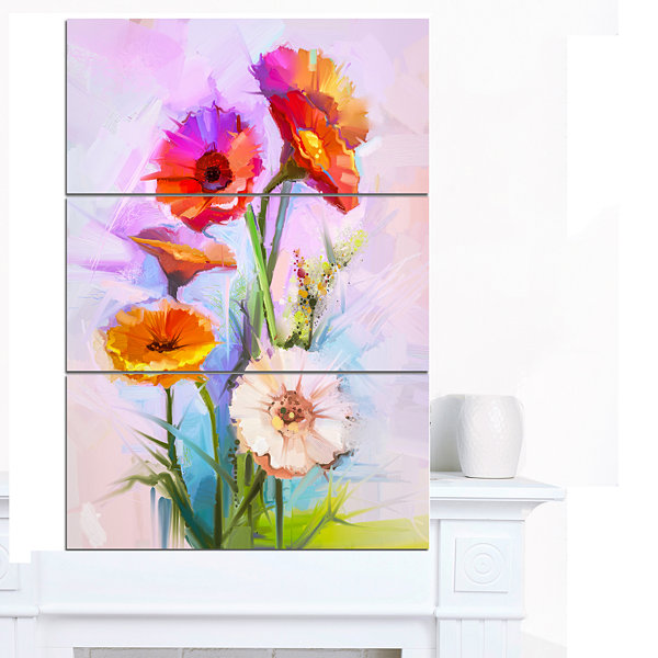 Designart Bouquet Of Red White Flowers Large Floral Canvas Art Print 3 Panels