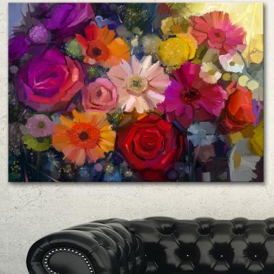 Designart Bouquet Of Rose Daisy And Gerbera LargeFloral Canvas Artwork