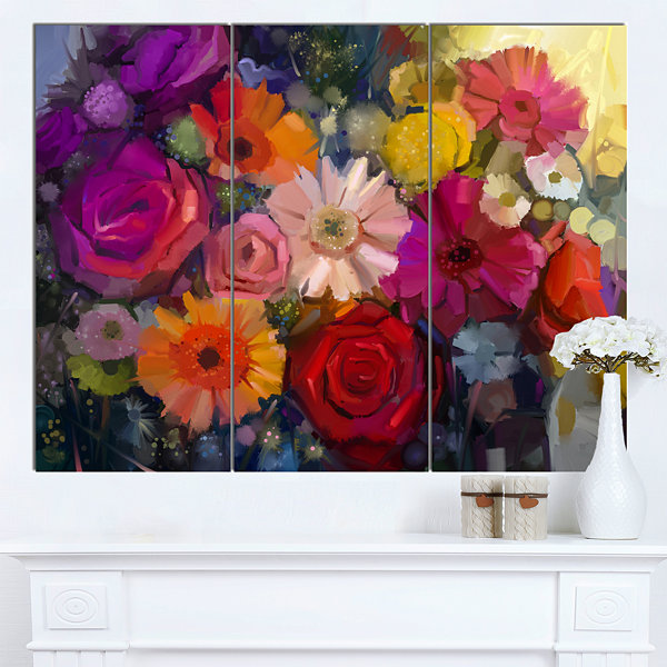 Designart Bouquet Of Rose Daisy And Gerbera LargeFloral Canvas Artwork 3 Panels
