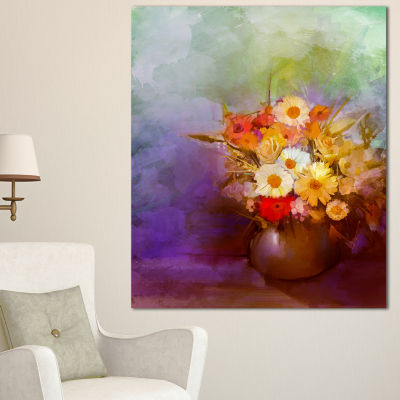 Designart Bouquet Of Small Flowers Watercolor Large Floral Canvas Artwork