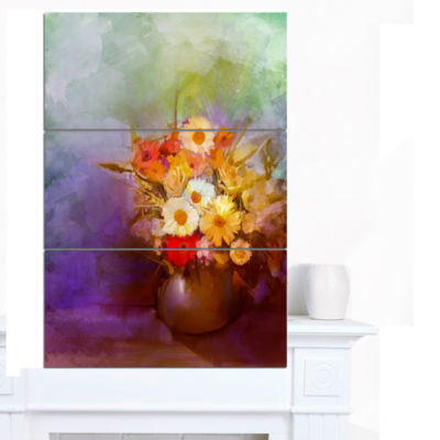Design Art Bouquet Of Small Flowers Watercolor Large Floral Canvas Artwork 3 Panels