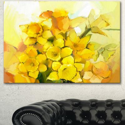 Designart Bouquet Of Yellow Narcissus Flowers Large Floral Canvas Artwork 3 Panels