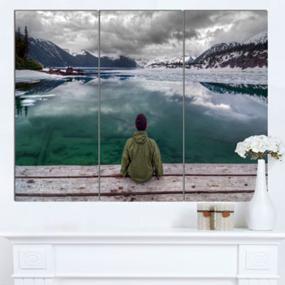 Designart Boy Looking At Clear Mountain Lake Landscape Canvas Art Print 3 Panels
