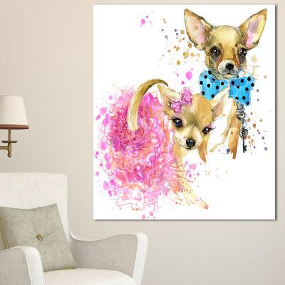Designart Bridge And Groom Dog Illustration AnimalCanvas Wall Art