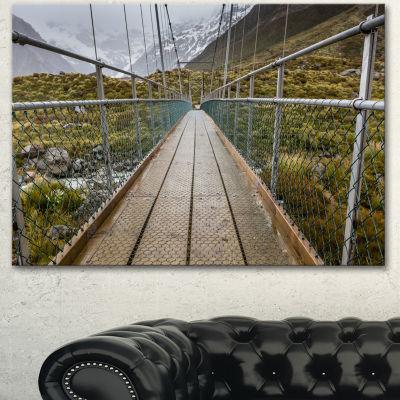 Designart Bridge Over Hooker River In Aoraki Bridge Canvas Art Print