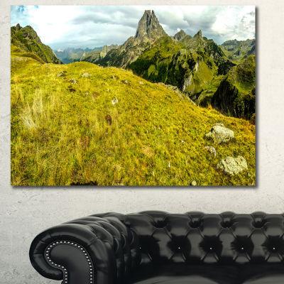 Designart Bright Green Mountain Panorama LandscapeCanvas Art Print