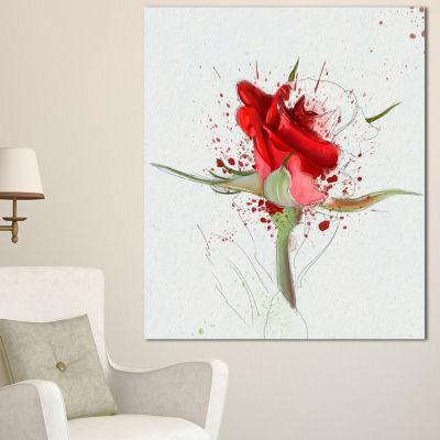 Designart Bright Hand Drawn Red Rose Sketch FloralCanvas Art Print 3 Panels