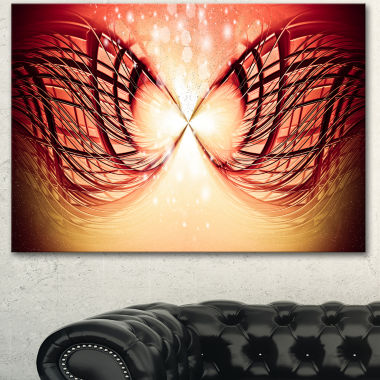Designart Bright Light On Red Fractal Design Abstract Canvas Wall Art Print