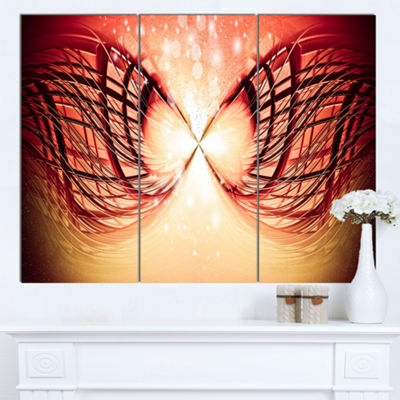 Designart Bright Light On Red Fractal Design Abstract Canvas Wall Art Print 3 Panels