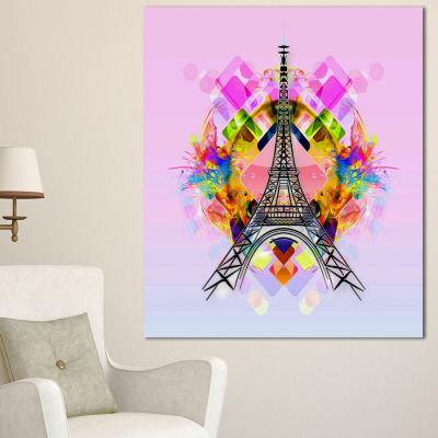 Design Art Bright Paris Eiffel Towercartoon Oversized Abstract Canvas Art