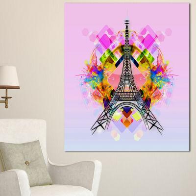 Designart Bright Paris Eiffel Towercartoon Oversized Abstract Canvas Art 3 Panels