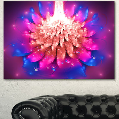 Designart Bright Pink Fractal Flower On Blue Floral Canvas Art Print 3 Panels