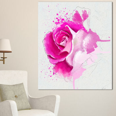 Designart Bright Pink Rose Flower Watercolor Flowers Canvas Wall Artwork 3 Panels