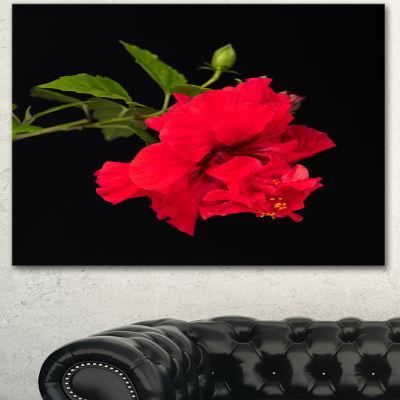 Designart Bright Red Hibiscus On Black Large Floral Canvas Art Print