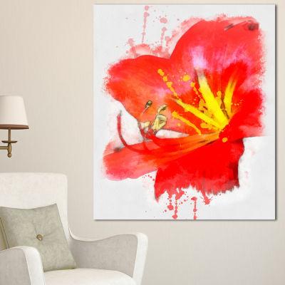Designart Bright Red Lily Illustration Art FloralCanvas Art Print 3 Panels