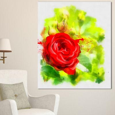 Designart Bright Red Rose On Light Green Floral Canvas Art Print