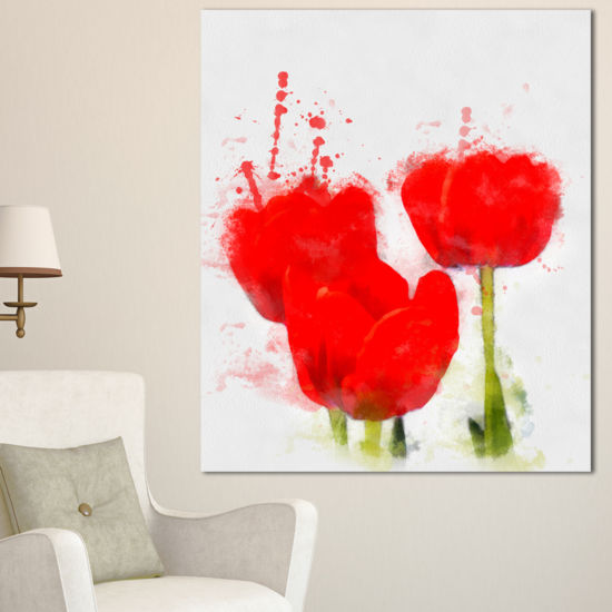 Designart Bright Red Tulip Flowers With SplashesFloral Canvas Art Print