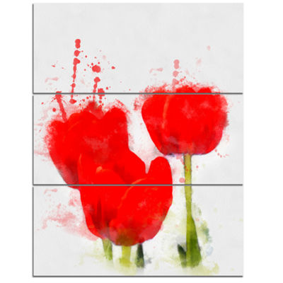 Designart Bright Red Tulip Flowers With SplashesFloral Canvas Art Print 3 Panels
