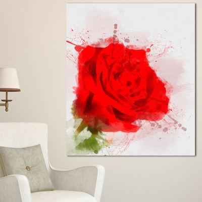 Designart Bright Red Watercolor Rose Sketch FloralCanvas Art Print