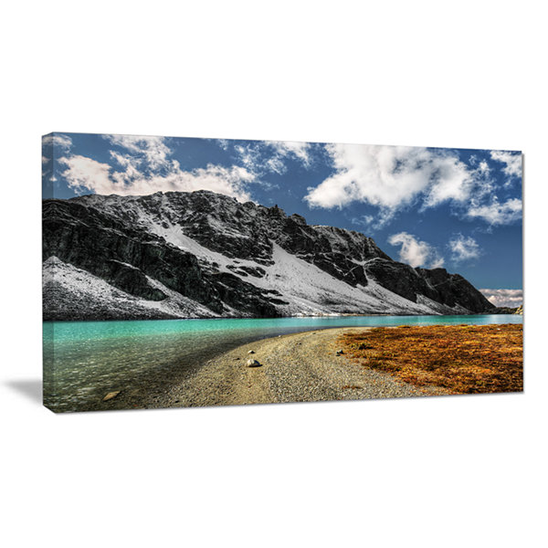 Design Art Bright Sky And Blue Mountain Lake Landscape Canvas Art Print