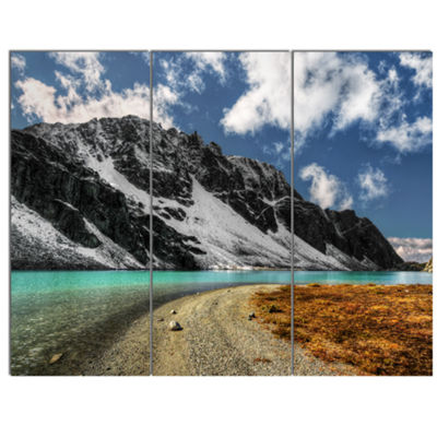 Designart Bright Sky And Blue Mountain Lake Landscape Canvas Art Print 3 Panels