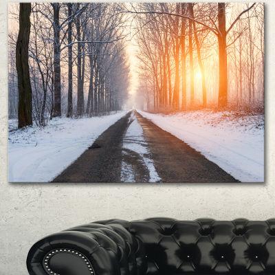 Designart Bright Sun Break In Winter Forest LargeForest Canvas Art Print 3 Panels