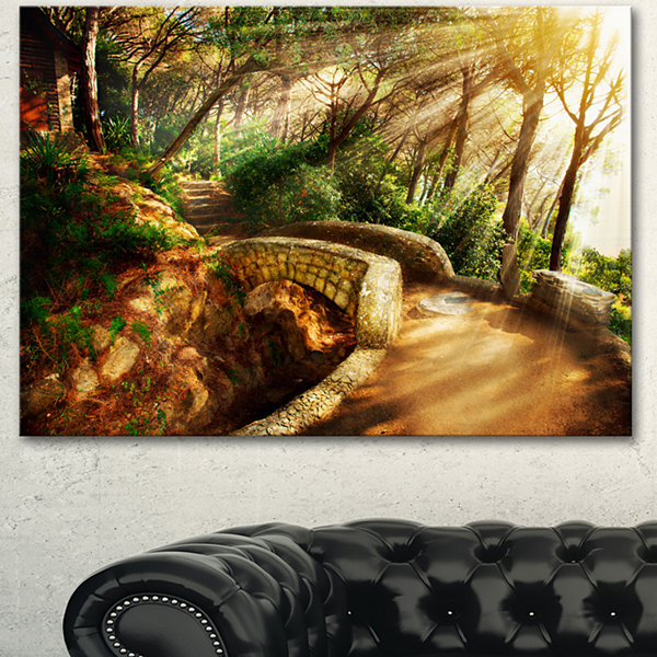 Designart Bright Sun In Mystical Park Large Landscape Canvas Art