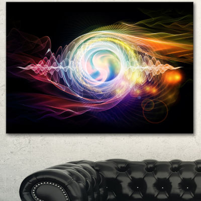 Designart Bright Wave Particle In Air On Black Large Abstract Canvas Wall Art