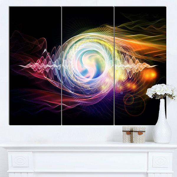 Designart Bright Wave Particle In Air On Black Large Abstract Canvas Wall Art 3 Panels