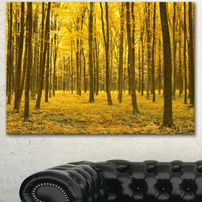 Designart Bright Yellow Autumns Forest Modern Forest Canvas Art 3 Panels