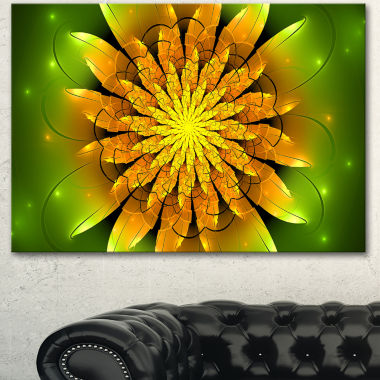 Designart Bright Yellow Fractal Flower On Green Floral Canvas Art Print